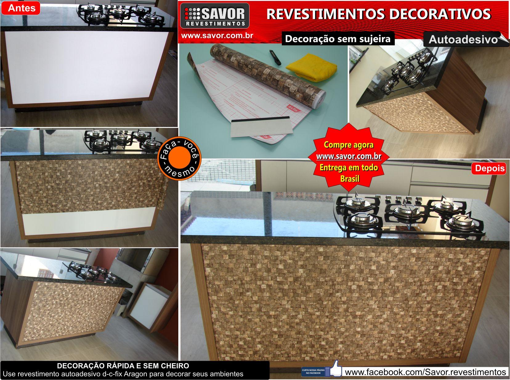 Revestimento autoadesivo com texturas variadas, usado para reformar e customizar superfícies lisas como, paredes, portas, MDF, PVC, metais, azulejos, divisórias e móveis.