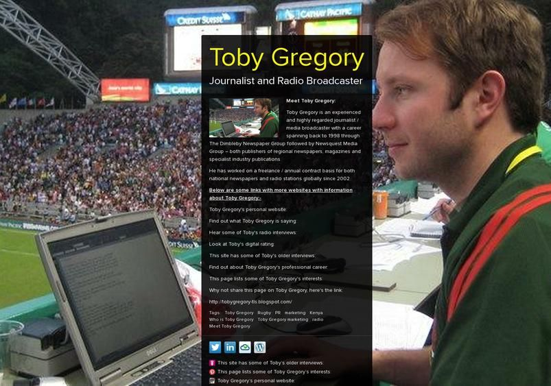 Toby Gregory's page on about.me http//about.me