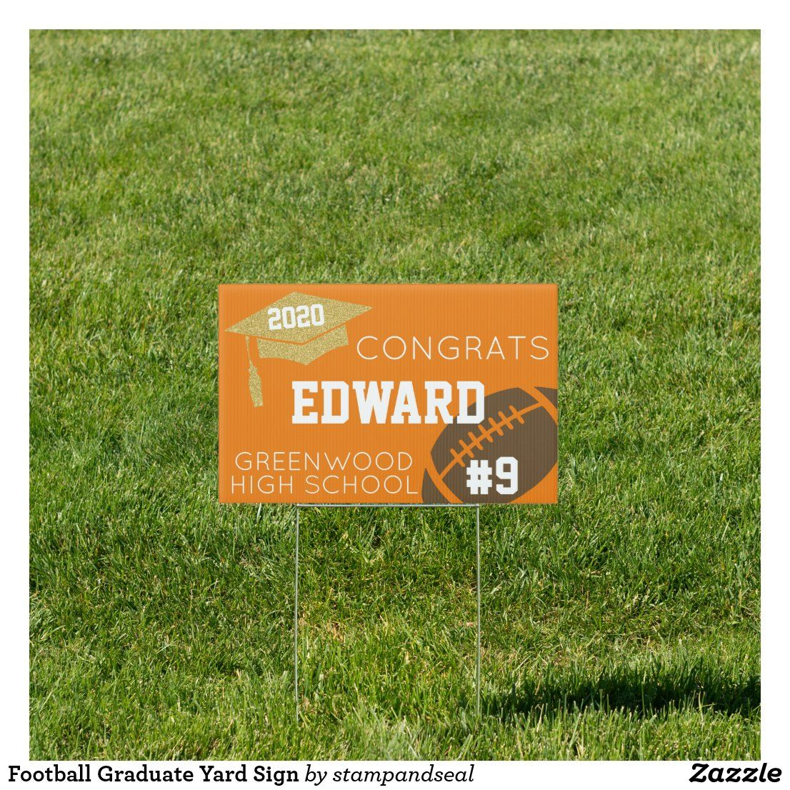 Football graduate yard sign in 2020 yard