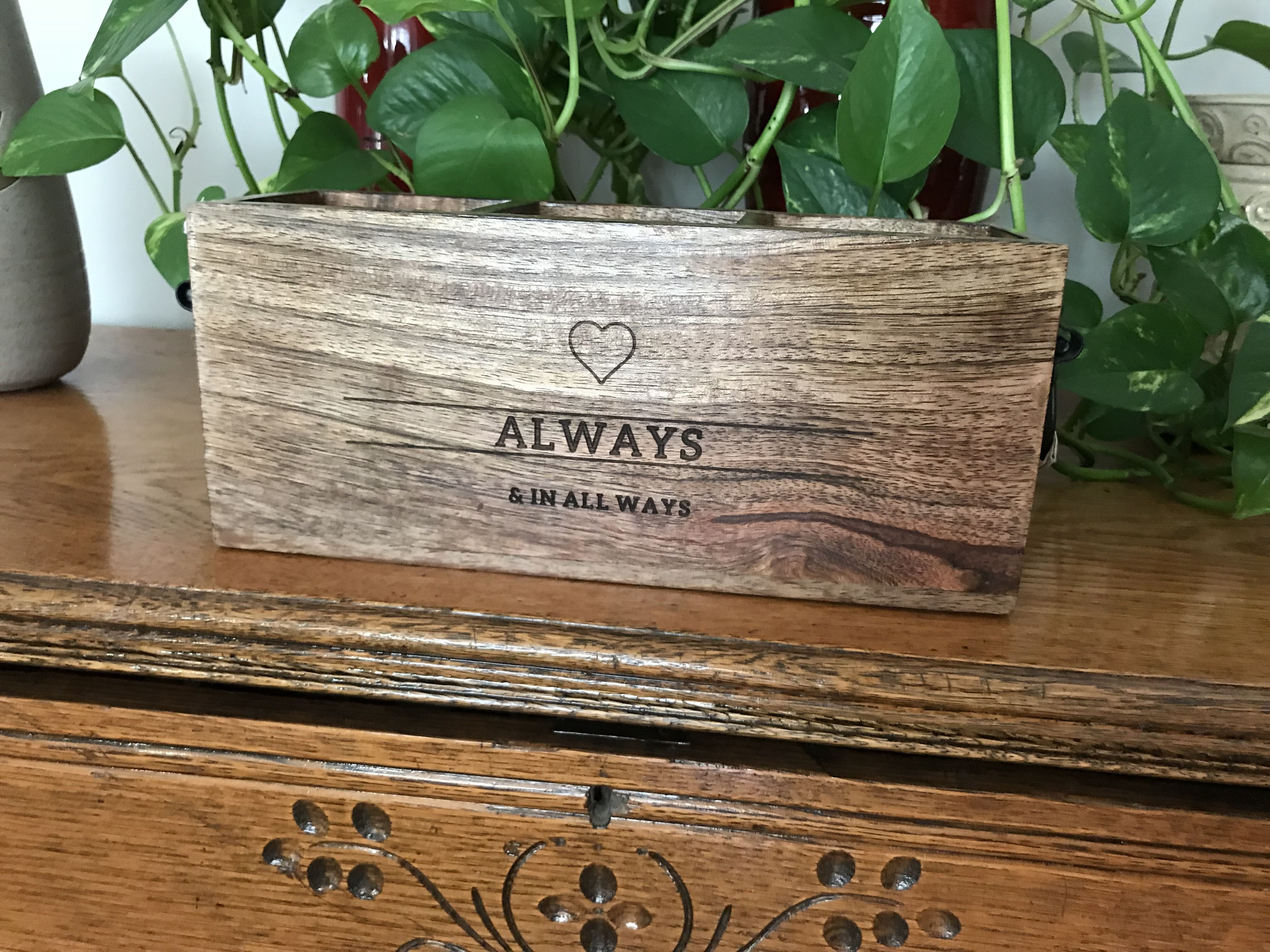The close to home caddy this wooden decor box has 3 for Home decor close to me