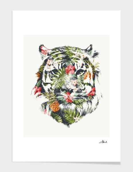 """Tropical Tiger"", Numbered Edition Affiches d'art by Robert Farkas - From 25,00€ - Curioos"