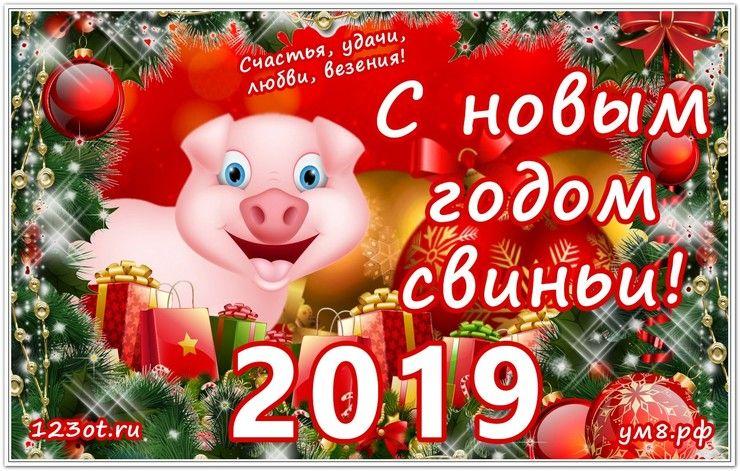 Новогодние открытки с поздравлениями 2019 год свиньи, животными красной книги