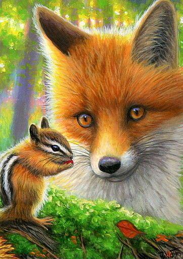 Details About Aceo Original Red Fox Chipmunk Wildlife