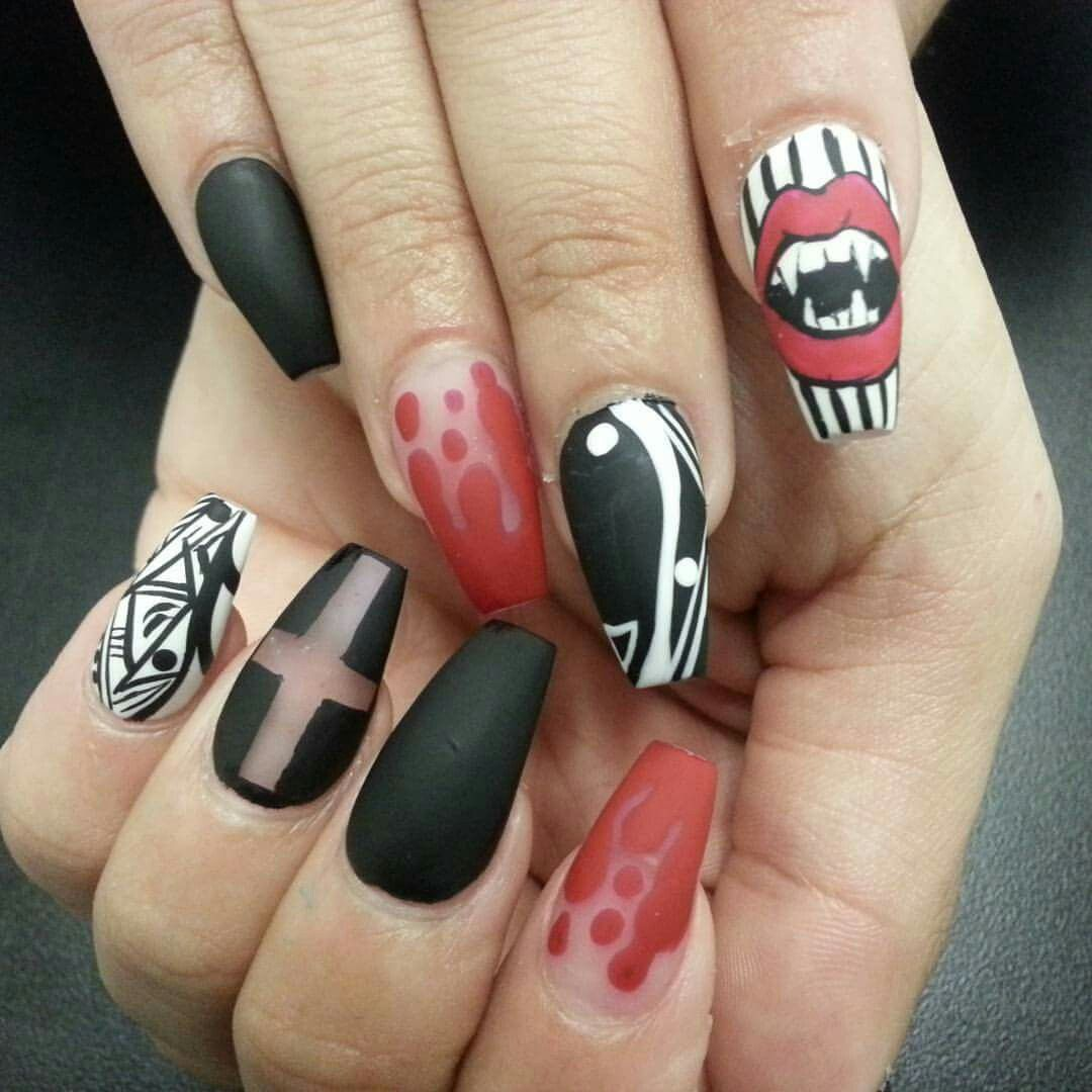 Halloween halloween nails vampire nails bloody nail art vampire halloween halloween nails vampire nails bloody nail art vampire teeth nail art nail designs prinsesfo Choice Image