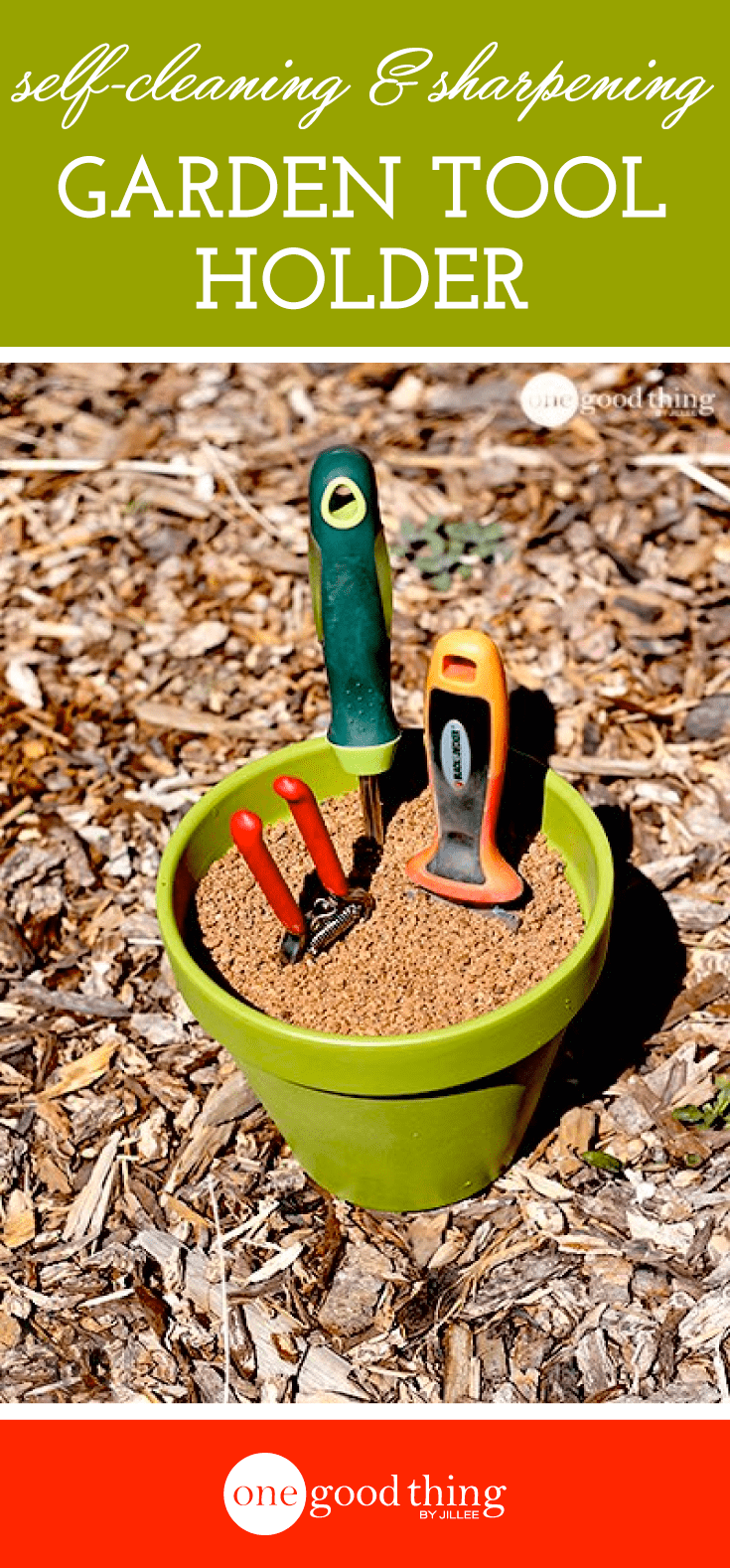 Make Your Own Self-Cleaning & Sharpening Garden Tool Holder #gardeningtools