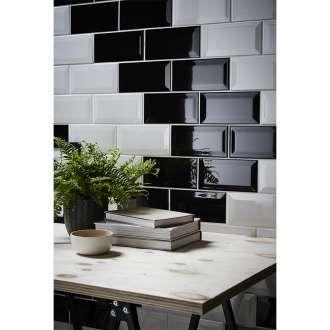 Faianta Pentru Interior Trentie 10 X 20 X 0 75 Cm Negru Wall Tiles Black Gloss Kitchen Living Room Entertainment