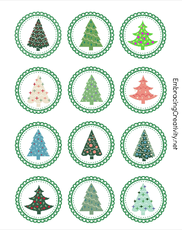 Free Printable Christmas Tree Cupcake Toppers  So cute