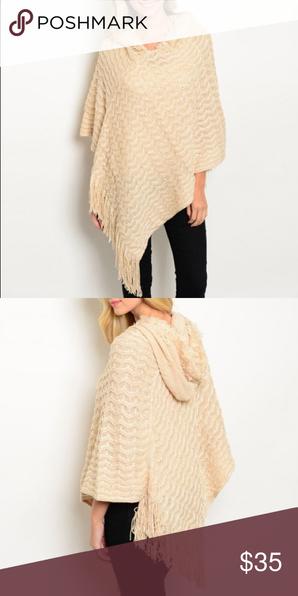 Cream Poncho with Hood Made from 100% acrylic and super cute!  Has small sequins throughout. Price Firm, and no Trades. Bundle 3+ from me and save 15%, only pay shipping ONCE, and get a FREE gift! Other