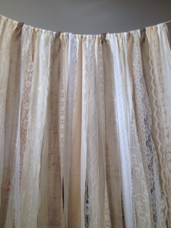 Burlap Curtains Ribbon Lace Curtain Rustic Garland Boho Etsy In 2020 Burlap Curtains Boho Wedding Backdrop Lace Curtains