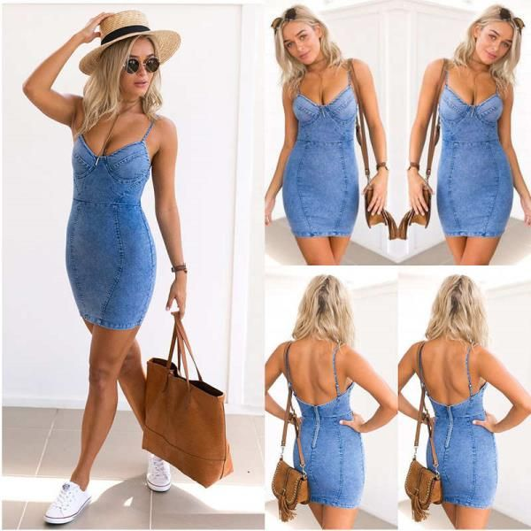 fcf24c493fe Womens Summer Strapless Bodycon Denim Jean Dress Ladies Party Evening Mini  Dress