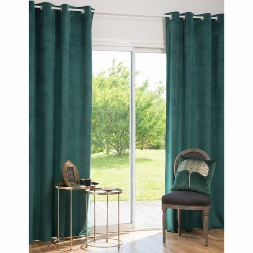 rideau illets vert meraude 140x250 en 2019 home bedrooms rideaux rideaux oeillets et. Black Bedroom Furniture Sets. Home Design Ideas
