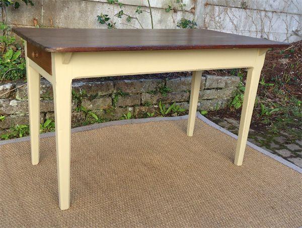 Table de cuisine ancienne bois peint et patiné avec tiroir | Meubles ...