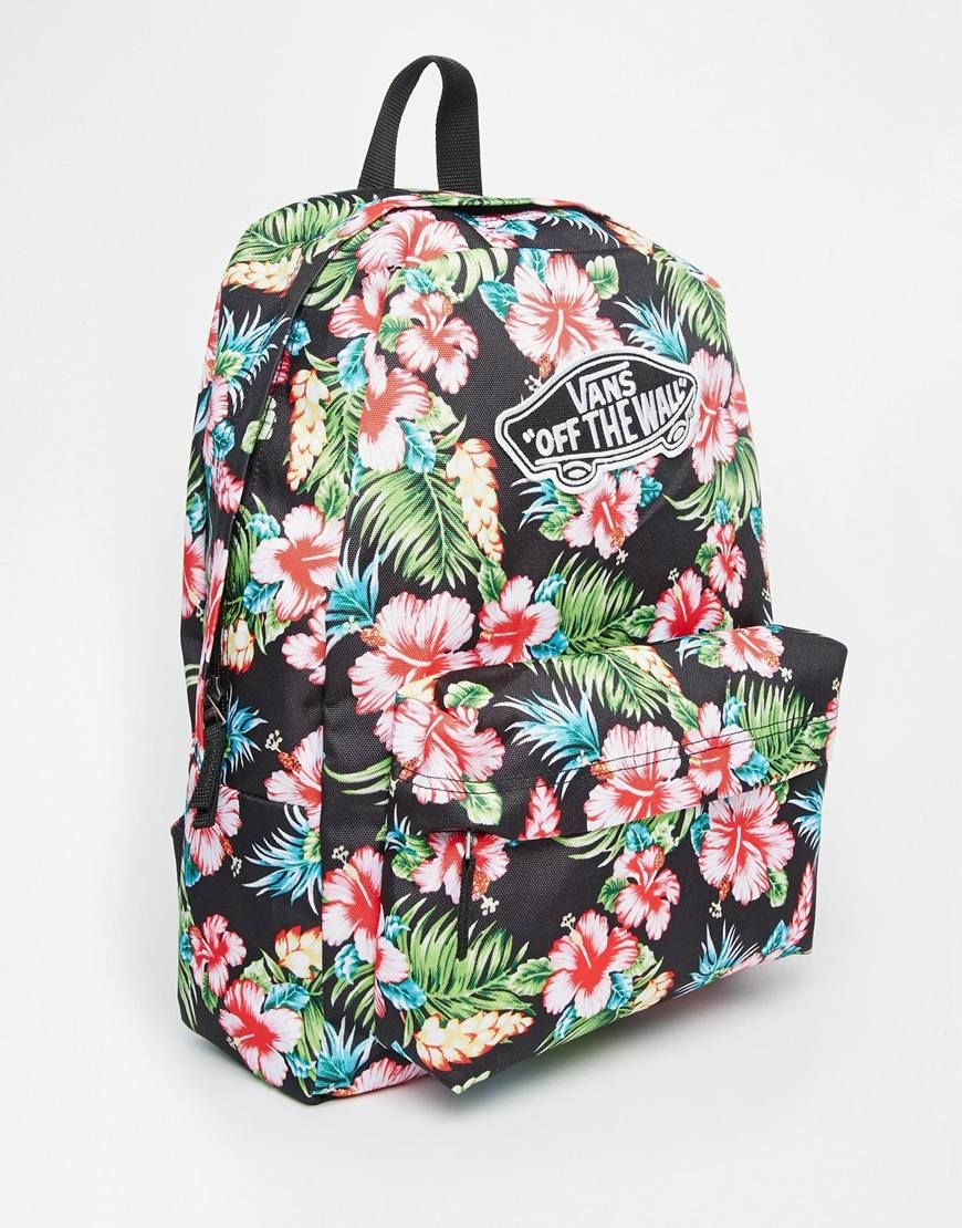 a633265e2f Image 2 of Vans Realm Backpack in Black Hawaiian Print