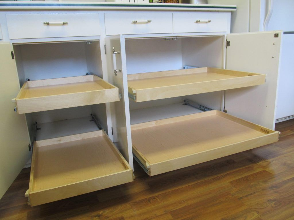 Metal Sliding Shelves For Kitchen Cabinets With Images Kitchen