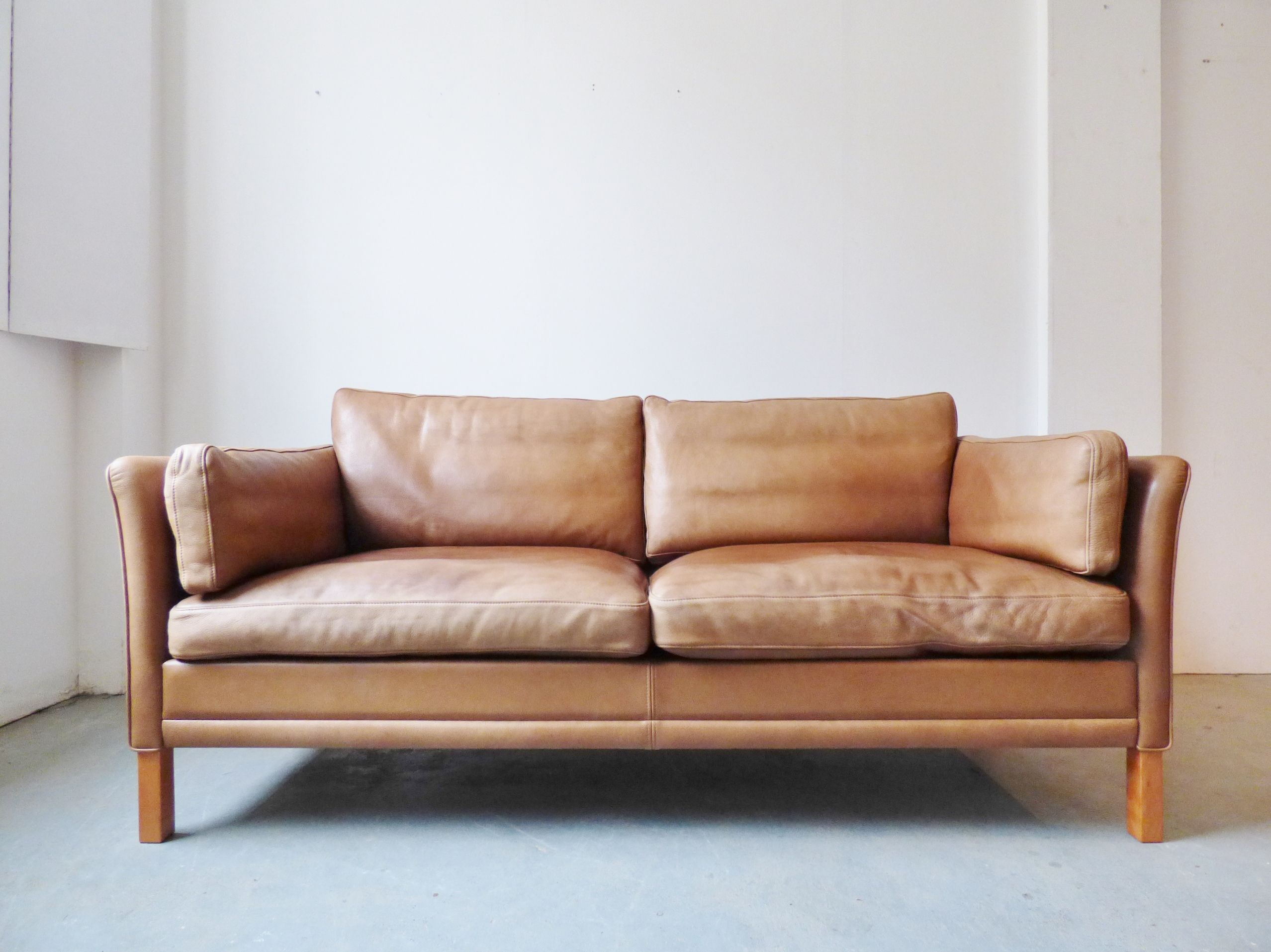 Tan Leather Sofa By Mogens Hansen