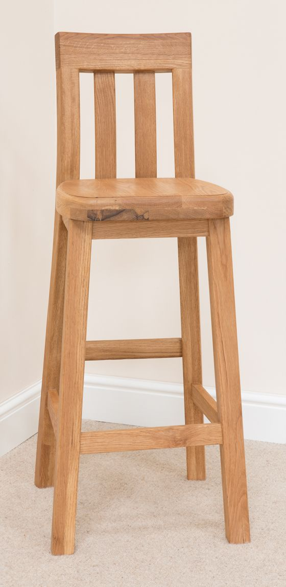 Chunky Solid Oak Kitchen Stool Ideal For Breakfast Bar Tables Sold By Warehouse