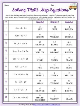 Solving multi step equations worksheet ideas