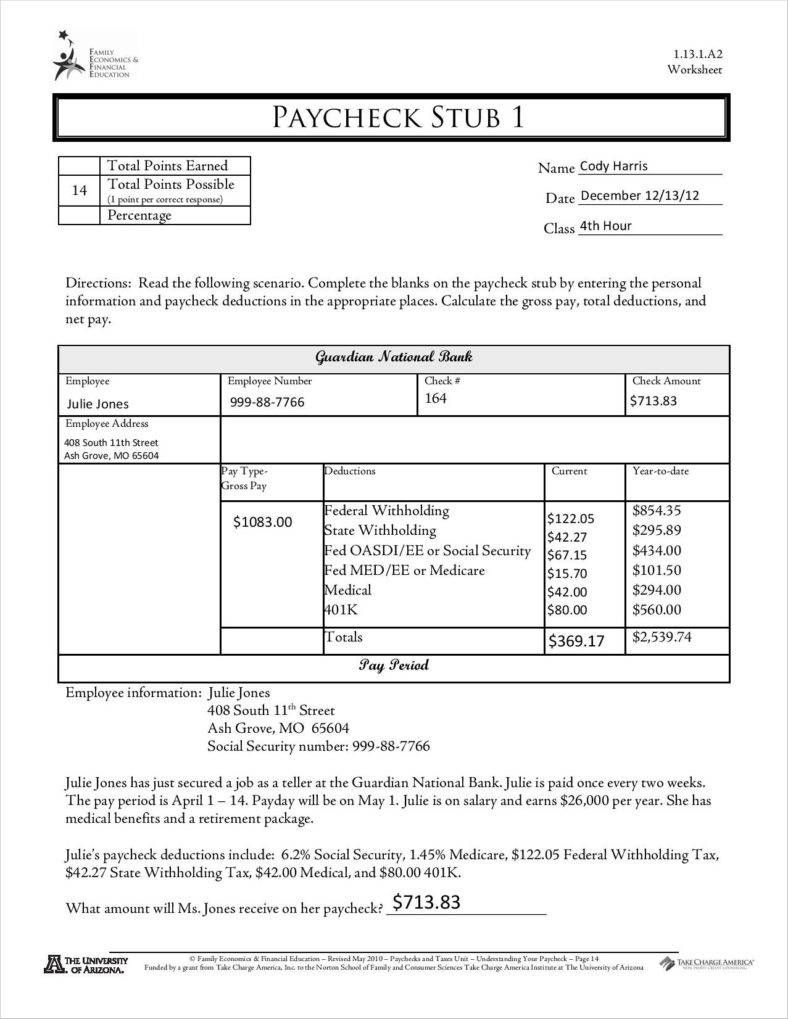 9+ Free Pay Stub Templates Word, Pdf, Excel Format