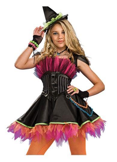 Teen Punk Rock 80s Goth Witch Girls Halloween Costume, Me ...