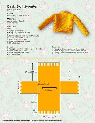 how to knit a barbie doll sweater: #dollsdollsdolls