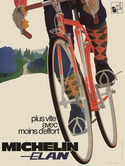 Michelin Elan Vintage Bicycle Poster    NAME: Michelin Elan  ARTIST: Anonymous  CIRCA: 1970  ORIGIN: France