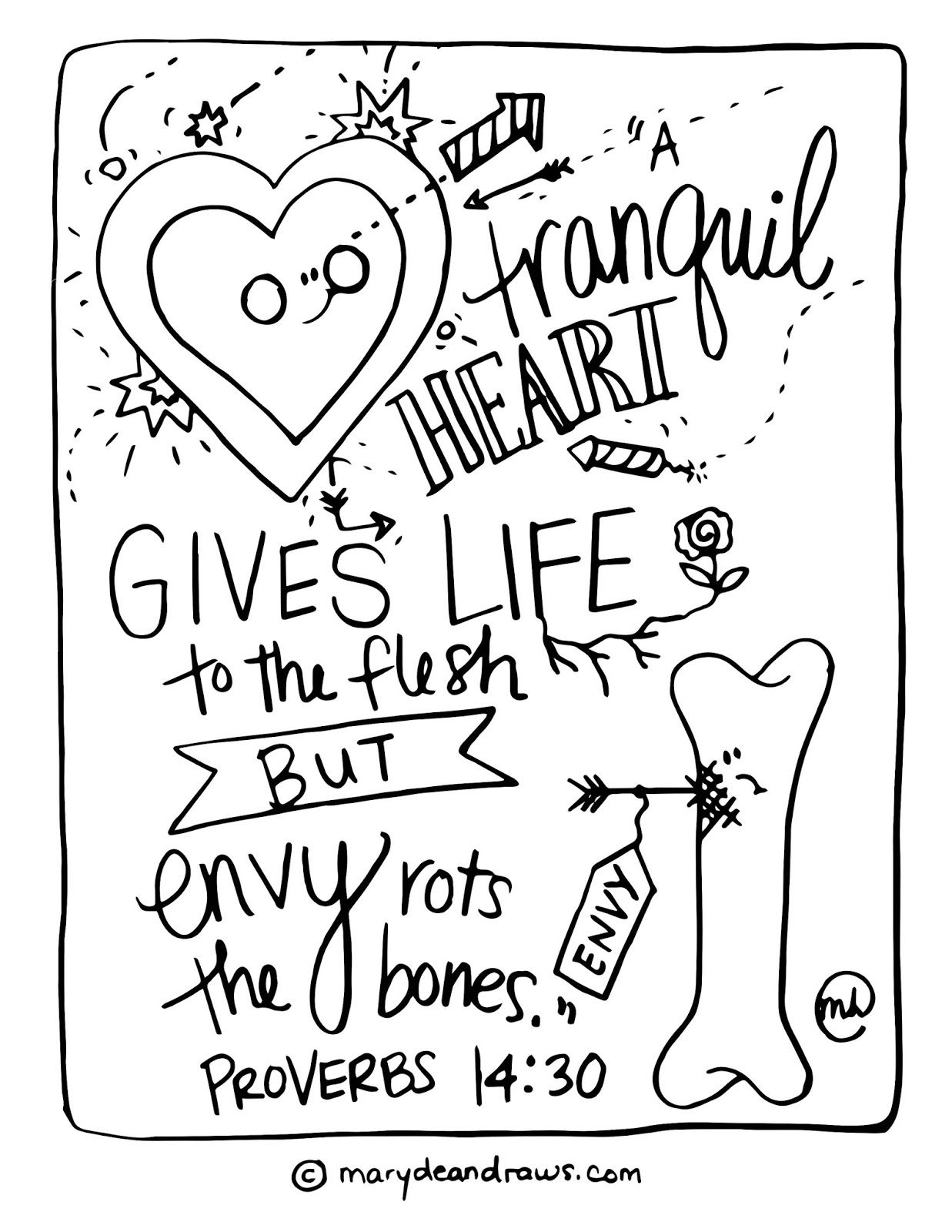 Coloring pages with bible verses -  A Tranquil Heart Gives Life To The Flesh By Envy Rots The Bones Proverbs Bible Verse Coloring Page