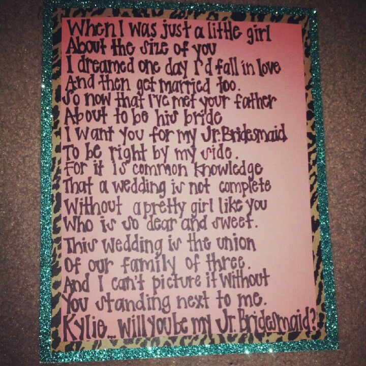 poem i wrote ky to ask her to be my jr bridesmaid  along with a dress for her american girl fool