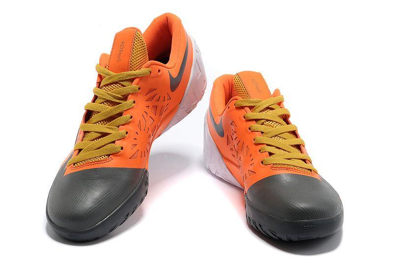 KD Trey 5 Team Orange Dark Grey Yellow and Kevin Durant Basktball Shoes