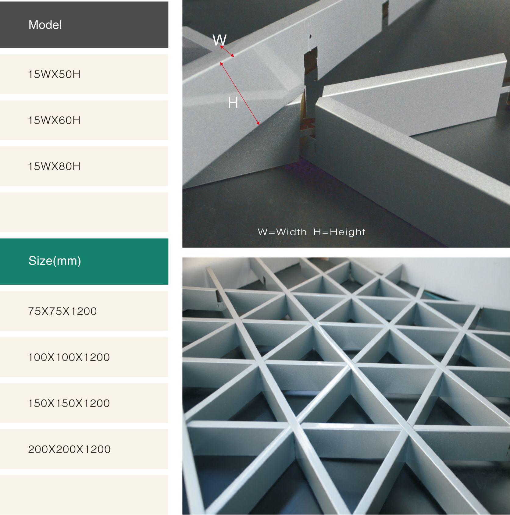 Decorative False Triangle Metal Aluminum Grid Ceiling System Ivory