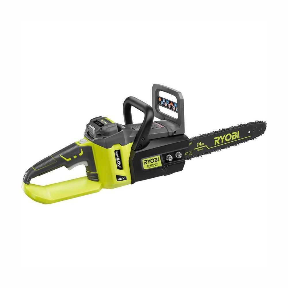 Ryobi Reconditioned 14 In 40 Volt Lithium Ion Brushless Electric Cordless Chainsaw Zrry40511 Cordless Chainsaw Ryobi Battery Chainsaw