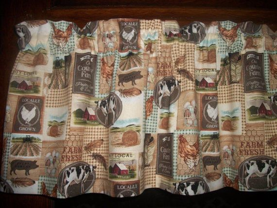 Country Black Farmhouse Cow Rooster Horse Pig 16 Curtain Valance Home Garden Curtains