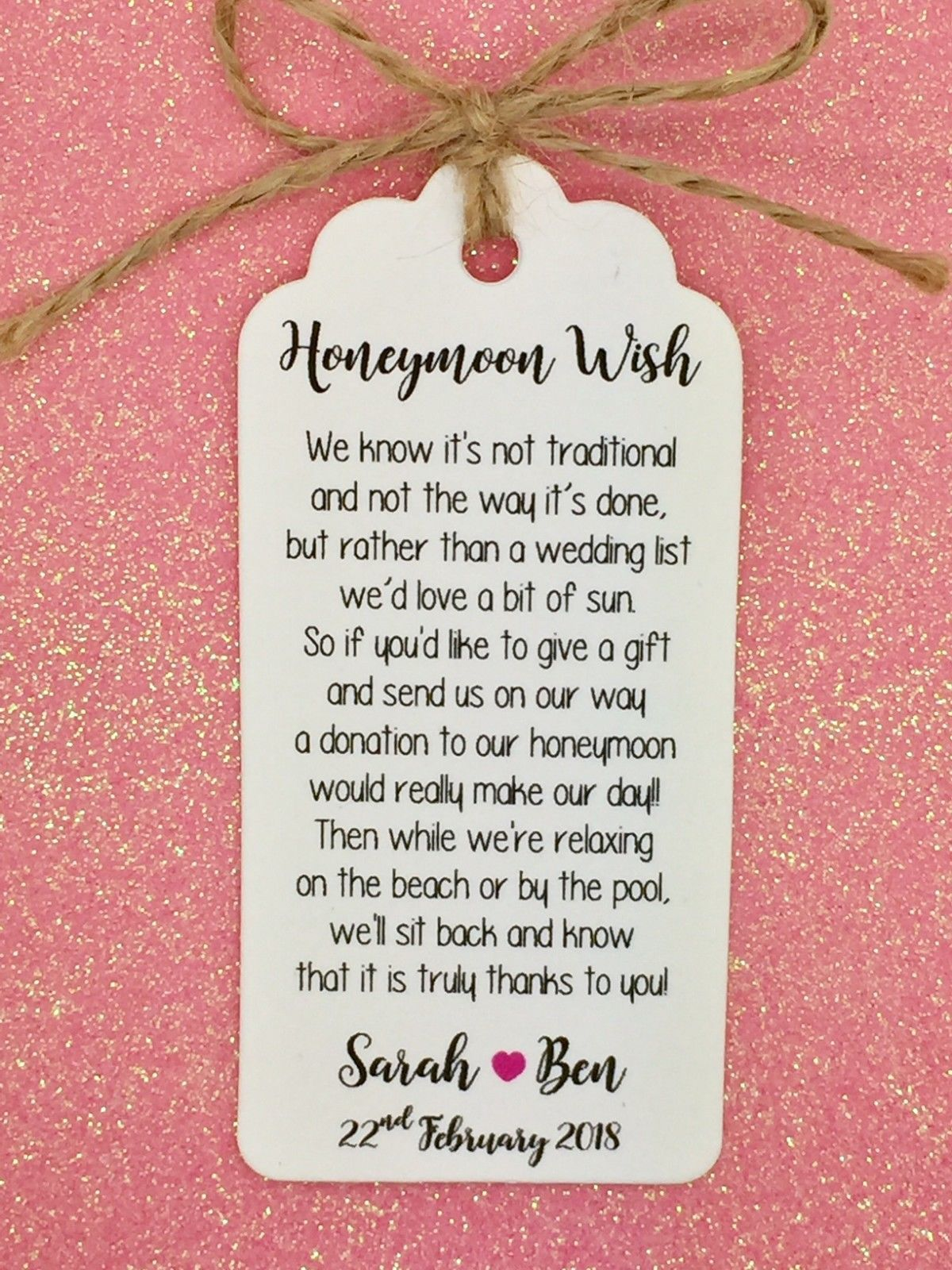 Wedding Honeymoon Fund Money Request Poem Card, Favour Gift Tag ...