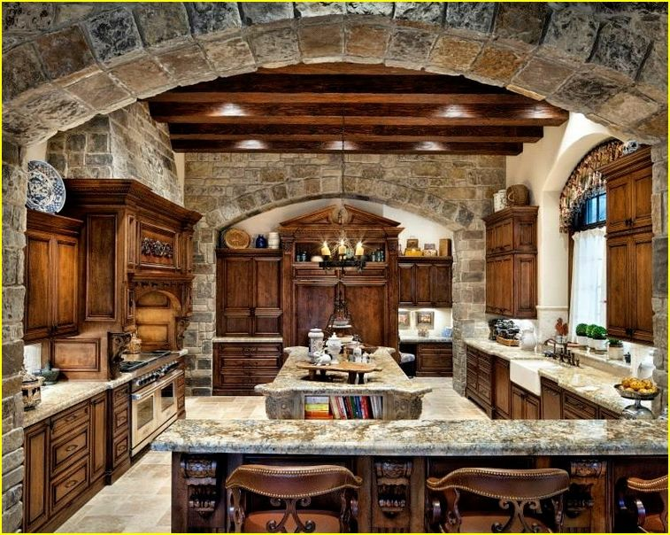 100+ KITCHEN DESIGNS LUXURY HOMES | Rustic kitchen design ... on Luxury Farmhouse Kitchen  id=76525
