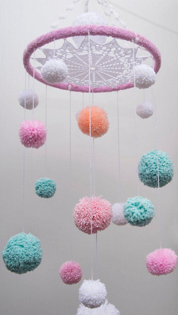 Pom Pom Mobiles Nursery Bаbу Mobile White crochet doily gift | Etsy