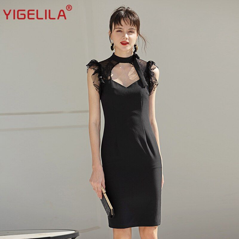 #yigelila #latest #spring #fashion #women #high #street #a-line #solid #lace #knee-length #empire #slim #stand #regular #sleeve #dress #64360 #dresses
