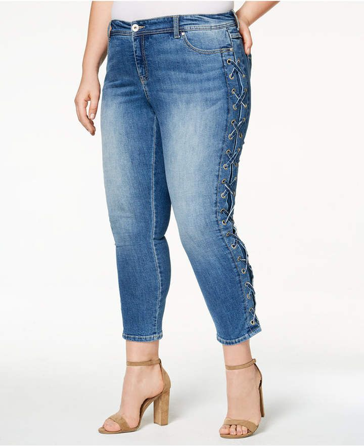 f21e46628b835 Inc International Concepts Plus Size Side-Laced Skinny Jeans - Plus Size  Fashion