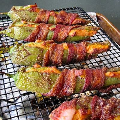 The Other Side of Fifty: Sweet and Spicy Bacon Wrapped Stuffed Anaheim Chili Peppers