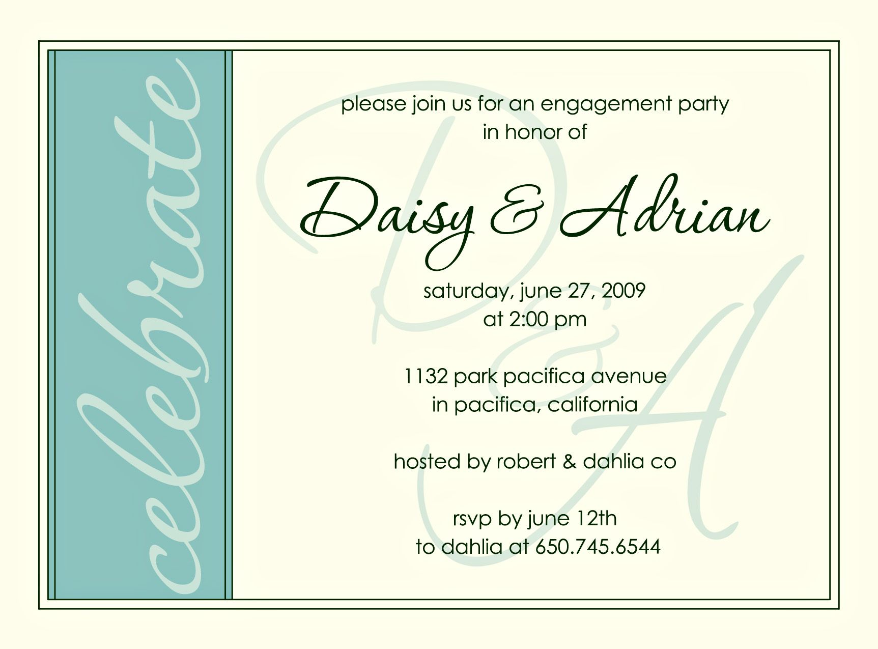 Engagement Party Invite – Party Invitation Message