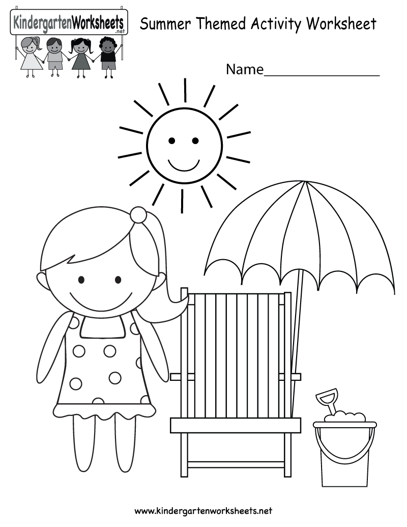 Kindergarten Summer Themed Activity Worksheet Printable