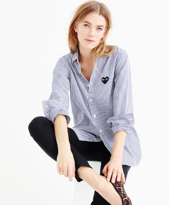 - Comme des Garçons Play Button Stripe Shirt - Equipment Leema Blouse  - Rag & Bone Button-Front Boyfriend Shirt  - FRAME Denim Le Skinny de Jean