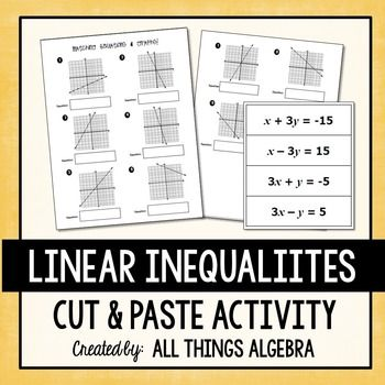 Linear Equations Cut And Paste Activity Free From Tpt Pinterest