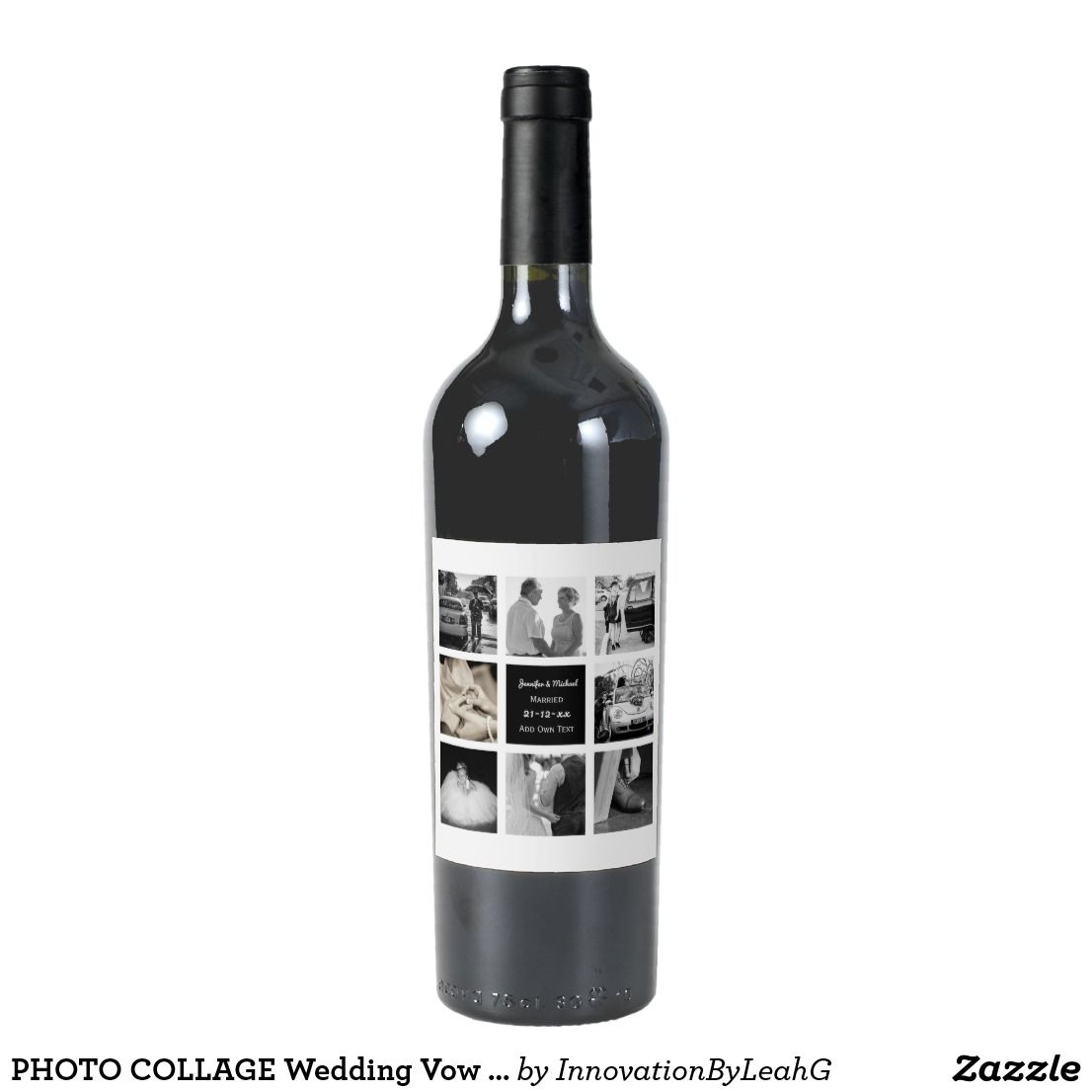 PHOTO COLLAGE Wedding Vow Renewal Anniversary Chic Wine Label | Gift ...