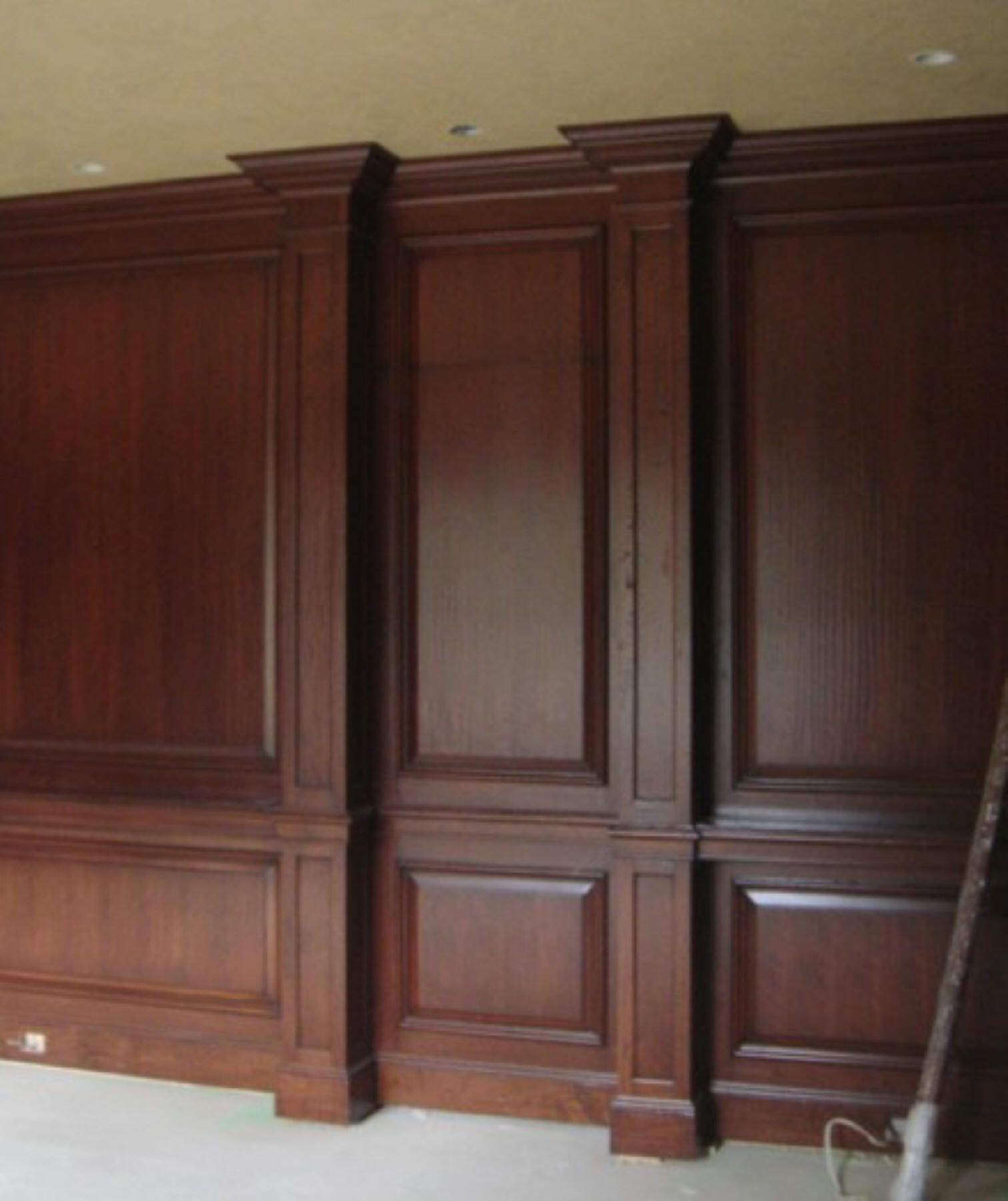 Nice Trim work for Den.  Shelves either side of Pillars. #woodworktrimwork Nice Trim work for Den.  Shelves either side of Pillars. #woodworktrimwork