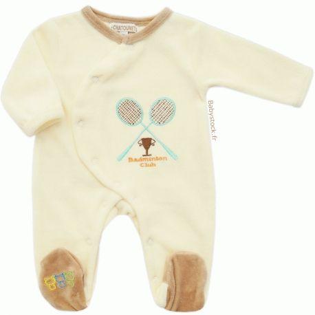 09abc3fc7fb06 Pyjama dors bien bébé garçon en velours crème   beige brodé Raquettes  Badminton Les Chatounets à 12