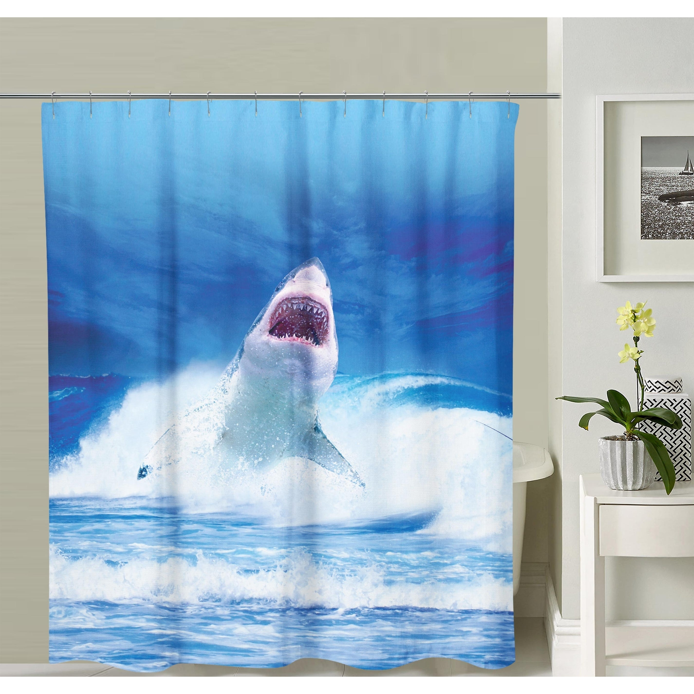 Oyo Concept Blue White Shower Curtain Shark Shower Curtain