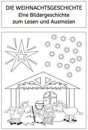 weihnachtsgeschichte: bildergeschichte zum lesen und ausmalen - | vorschule weihnachten