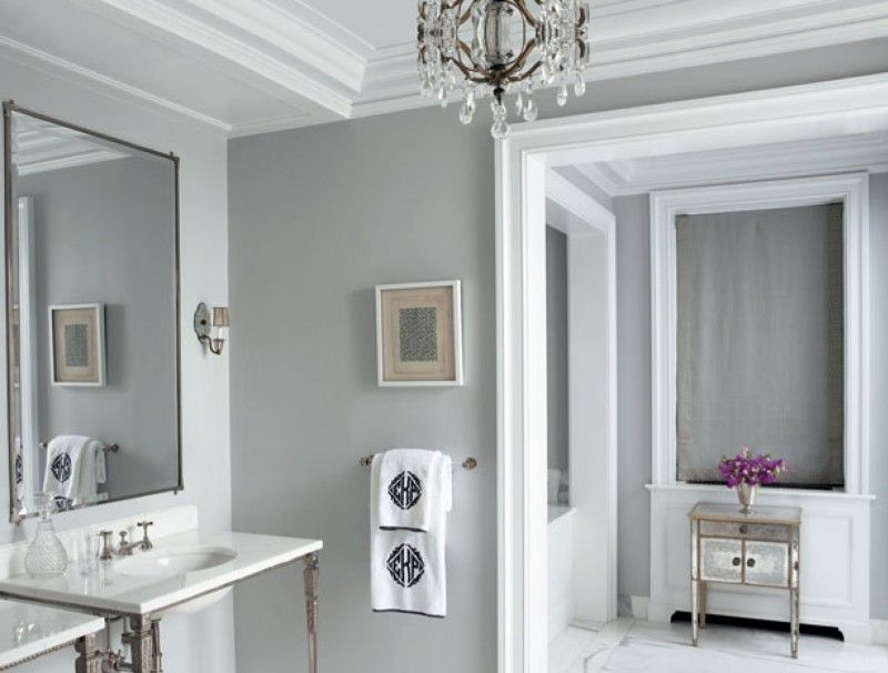 Bathroom Luxury Crystal Chandelier With Small Grey Bathroom Wall Paint Idea Plus White Vanity Sets