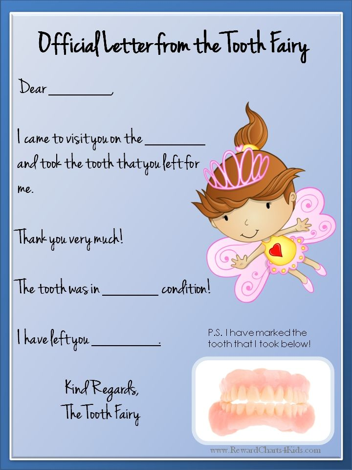 Tooth fairy letter tooth fairy pinterest tooth fairy for Letter from the tooth fairy template