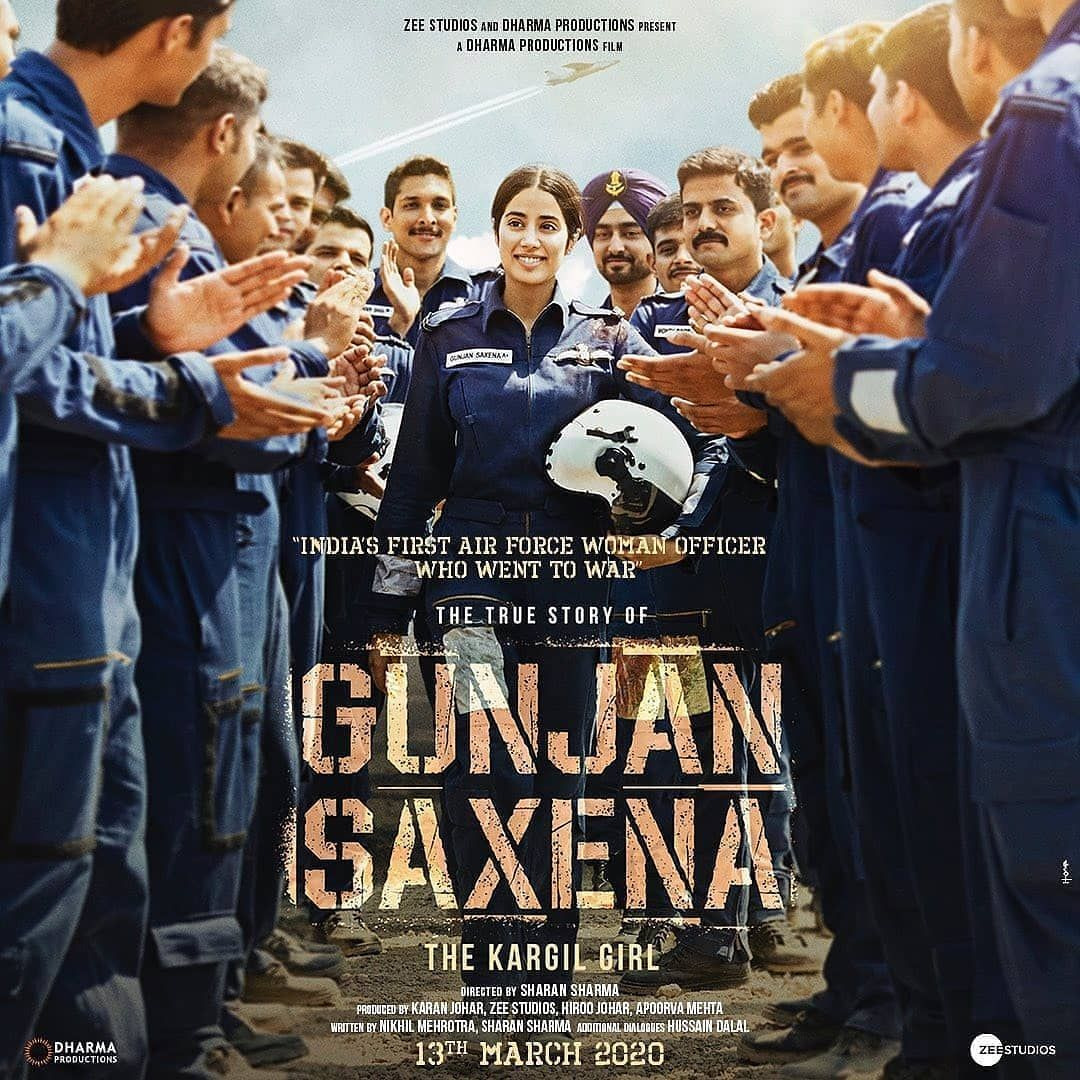 Here S The First Poster Of Janhvikapoor As In Gunjan Saxena Bollywoodcelebs Bollywood Celebs Style Fashi Bollywood Movie Netflix Movie Girl Movies