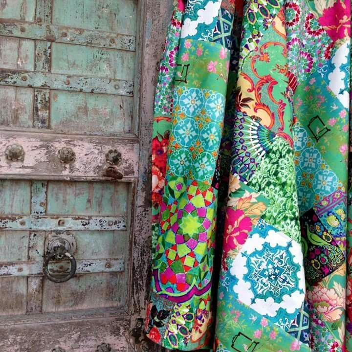 Plain patches of really amazing fabrics, using the patterns and colours to create the beautiful quilt.